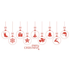 Red Christmas ornaments vector image