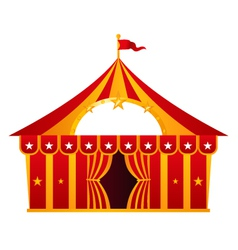 Red circus tent isolated on white vector image vector image