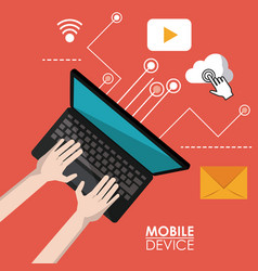 Red poster mobile device of laptop computer in top vector