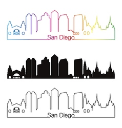 San diego skyline linear style with rainbow vector