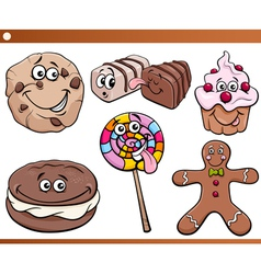 sweets and cookies set cartoon vector image vector image