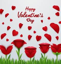 Valentines day background with roses flower vector