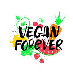 Vegan forever hand drawn lettering vector