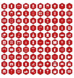 100 interior icons hexagon red vector