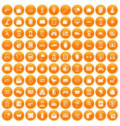 100 telephone icons set orange vector