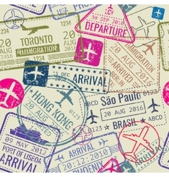 seamless pattern with passport visa stamps vector image