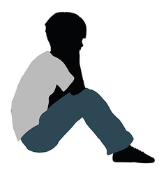 boy silhouette in Intimate Talk Pose vector image