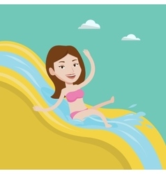 Woman riding down waterslide vector