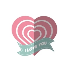 I love you greeting heart style shadow vector