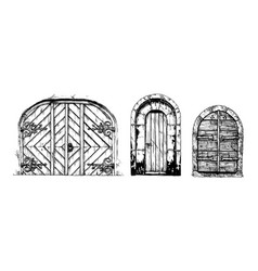 Middle age vintage doors vector