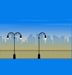 Scenery street lamp with city background of vector