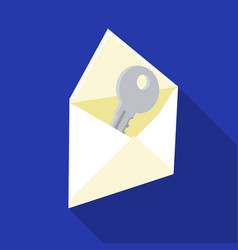 E-mail with key password icon in flat style vector