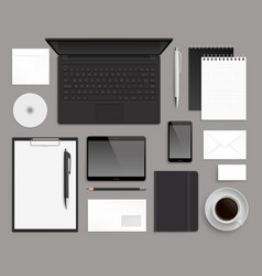 top view office corporate design mockup template vector image