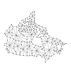 Canada map of polygonal mosaic lines network rays vector