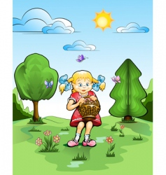 Girl with basket of mushrooms vector