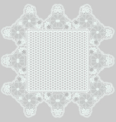 mesh lace napkin with tracery flowers on a gray vector image