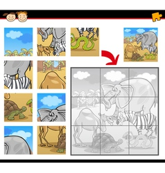 Cartoon safari animals jigsaw puzzle vector
