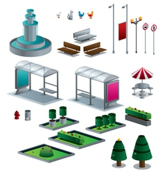 Objects of the city isolated isometric set vector