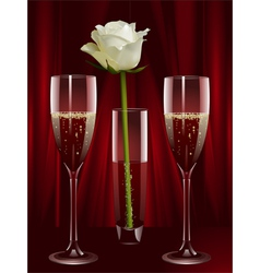Rose and champagne vector