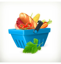 Basket with foods isolated vector