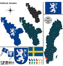 Map of Halland vector image