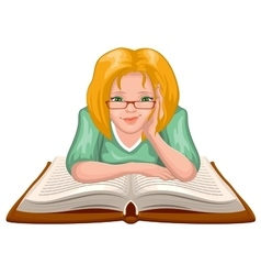 Woman reading book young woman in glasses placed vector