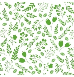 Floral seamless pattern with green garden plants vector