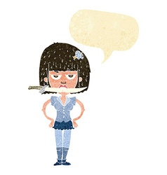 Cartoon woman with knife between teeth with speech vector