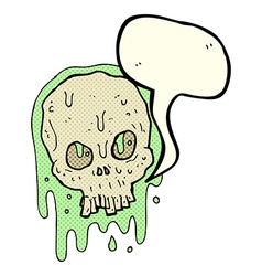 Cartoon slimy skull with speech bubble vector