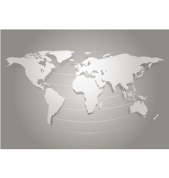 Paper cut world map white and grey abstract vector