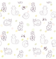 Seamless pattern cats vector
