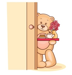 teddy breakfast tray vector image