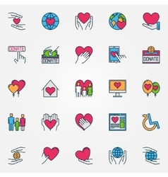 Colorful support and care icons vector