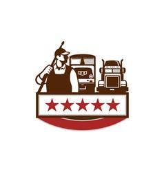 Power Washer Worker Truck Train Stars Retro vector image