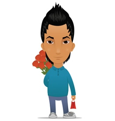 Guy with flowers and gift vector