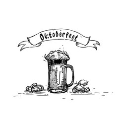 Beer glass mug oktoberfest festival sketch banner vector