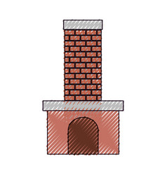 brick fireplace on color crayon silhouette on vector image
