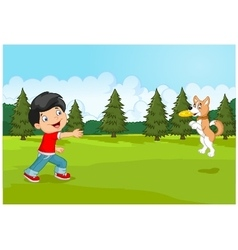 Cartoon boy playing Frisbee with his dog vector image vector image