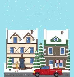 city in winter period of year vector image vector image