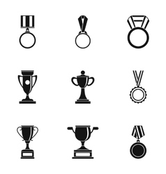 Competition icons set simple style vector