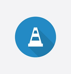 Construction cone flat blue simple icon with long vector