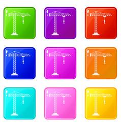 construction crane icons 9 set vector image vector image