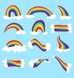 cute cloud and rainbow set rainbow cartoon vector image vector image