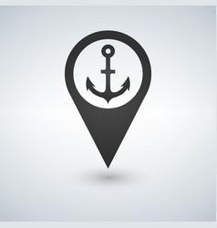 dark map pointer with anchor symbol icon vector image vector image