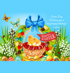 Easter basket with eggs and chickens greeting card vector