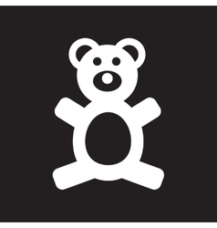 Flat icon in black and white style toy bear vector