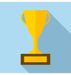 Golden trophy cup icon in flat style vector image