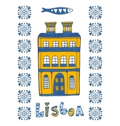 Hand drawn card with typical Portuguese house vector image vector image