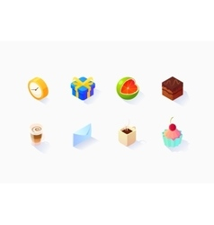 Isometric social icons set vector