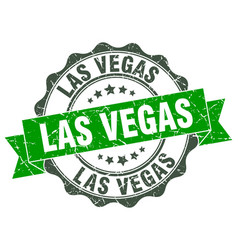 Las vegas round ribbon seal vector